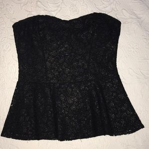 Adorable black and gold lace peplum Express top